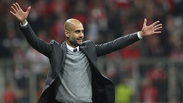 MUNICH, GERMANY - NOVEMBER 04:  Team coach Josep Guardiola of Bayern Muenchen celebrates during the UEFA Champions League Group F match between Arsenal FC and FC Bayern Munchen on November 4, 2015 in Munich, Germany.  (Photo by A. Beier/Getty Images for FC Bayern)