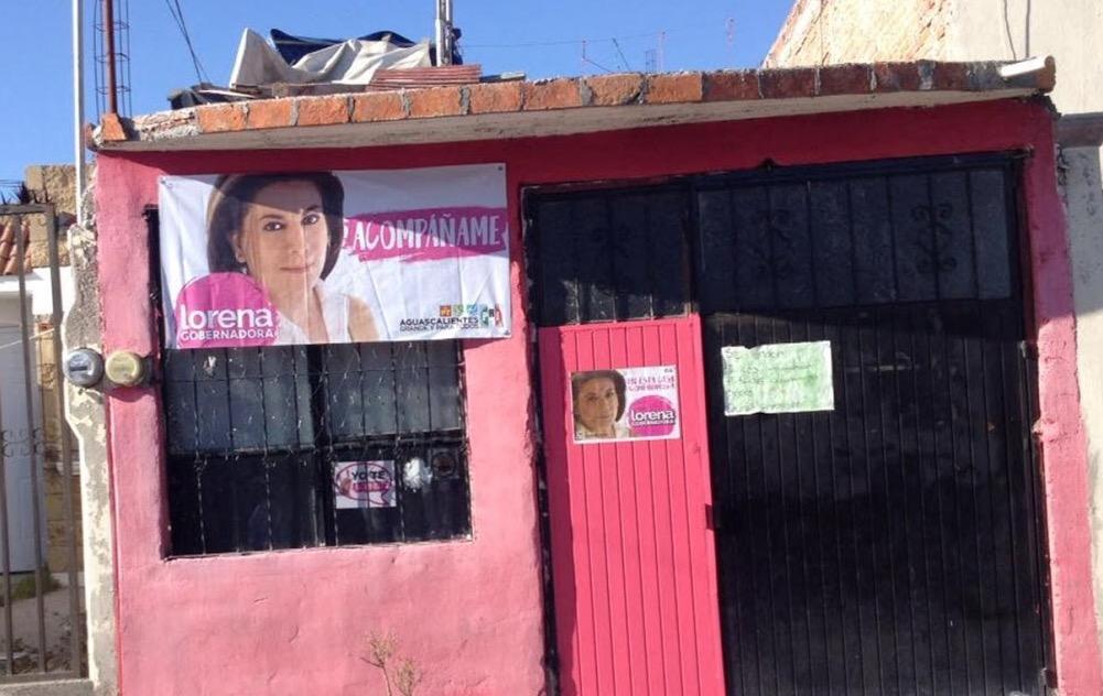 Denuncian que el PRI pintó casas sin permiso en Aguascalientes