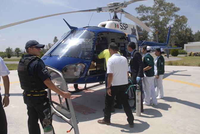 Trasladan en helicóptero a Guadalajara a hombre que sufrió flamazo en Ags.