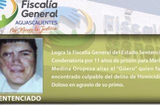 11 años de cárcel a sujeto que mató a su primo en Aguascalientes