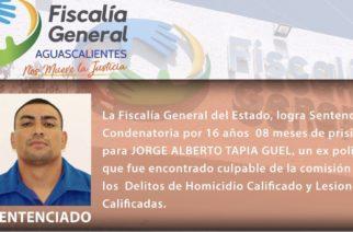 Dictan 16 años de cárcel a expolicía de Aguascalientes por homicidio