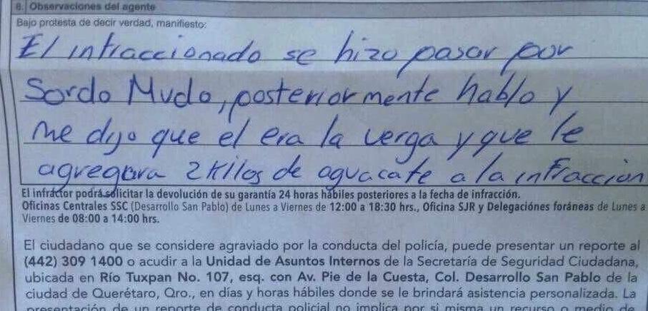 """""""Soy la ve… y échale 2 kilos de aguacate"""", dicen a agente que multó a conductor"""