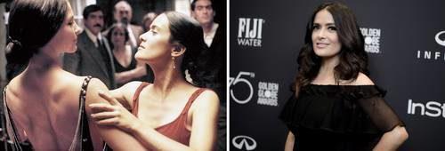 En un fotograma de la cinta Frida aparece Hayek, a la izquierda, con Ashley Judd, que interpreta a Tina Modotti y quien fue una de las primeras en denunciar a Weinstein. La película era un proyecto de años de la actriz mexicana, el cual quedó marcado por el acoso sexual del ex productor hollywoodense. A la derecha, en una imagen de la agencia Ap, Hayek posa durante los Globos de Oro