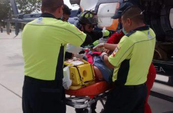 Traslada helicóptero de la SSPE a joven herida de Calvillo a Ags