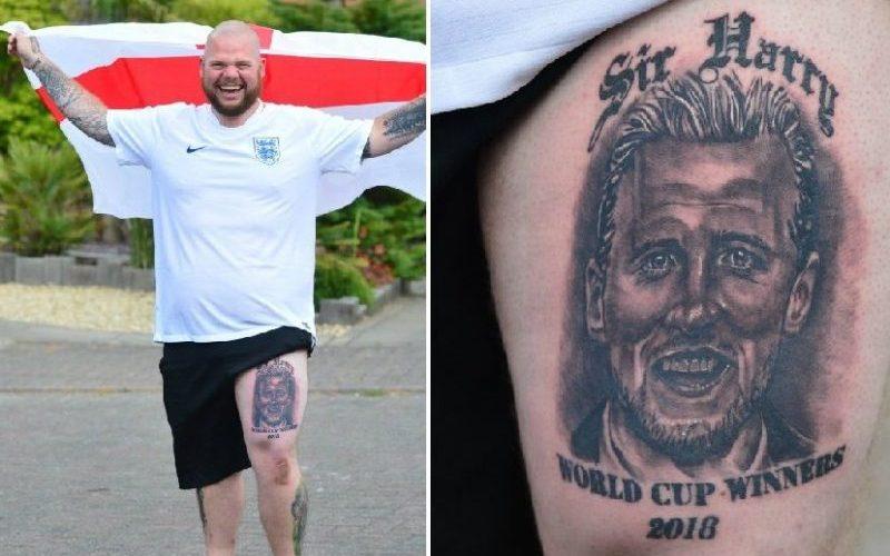 Fan asegura que Inglaterra ganará el Mundial haciéndose un tatuaje en honor a Harry Kane