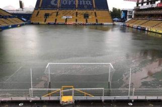 Cancha de Dorados se inundó tras fuertes lluvias en Culiacán