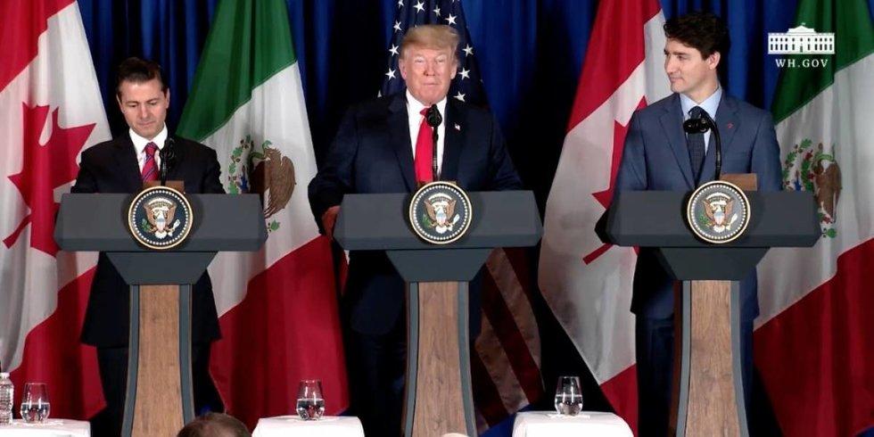Peña, Trump y Trudeau firman el T-MEC