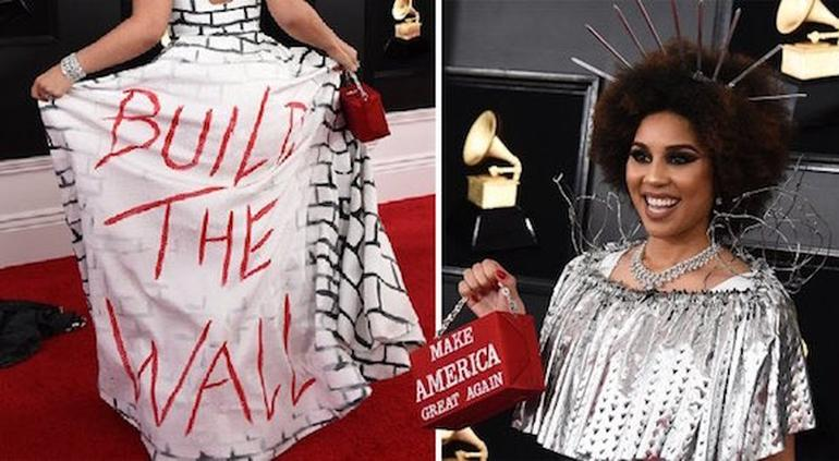 Con vestido, cantante pide construcción del muro en los Grammy (FOTOS)