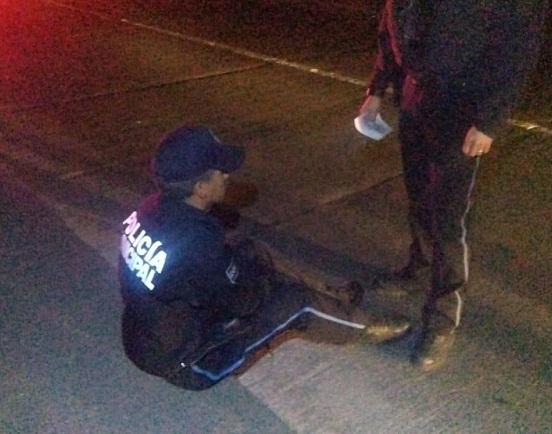 Imprudente motociclista choca patrulla de la Policía Municipal en López Mateos