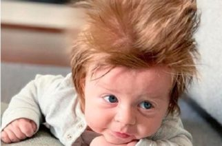 Sorprende bebé con abundante cabellera
