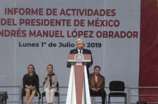 AMLO ennumera logros de 7 meses en la Presidencia, y pide la unión de empresarios y trabajadores