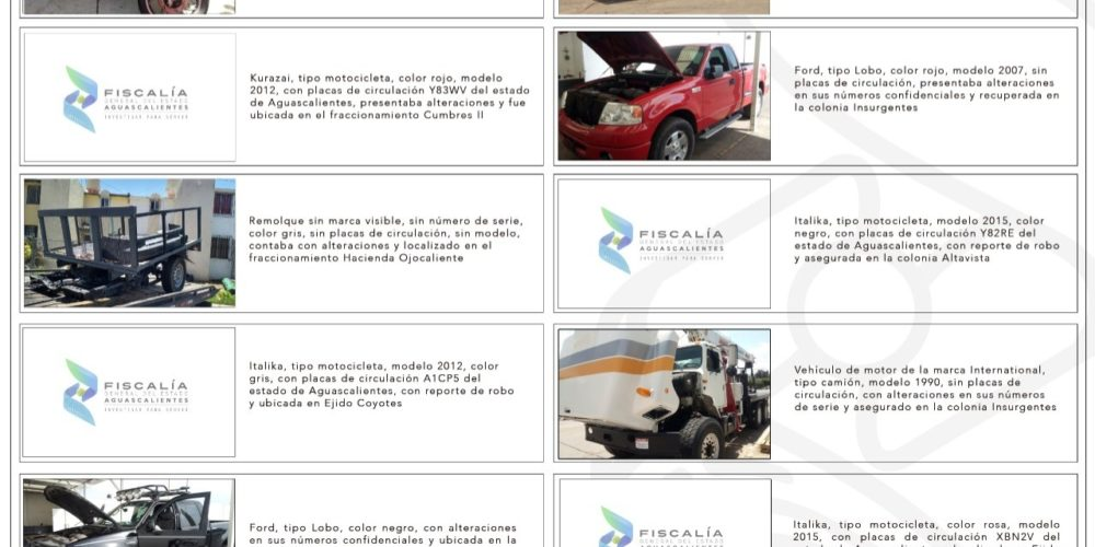 Policía Ministerial recupera 11 vehículos con reporte de robo