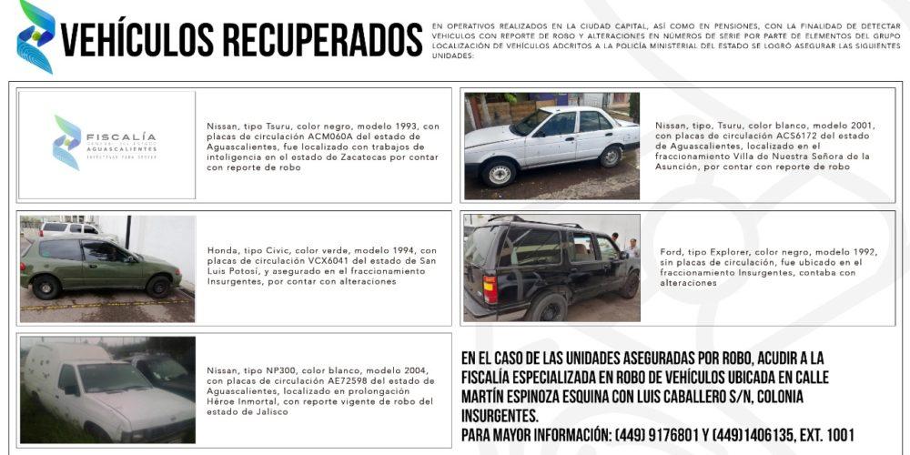 Policía Ministerial localiza vehículos con reporte de robo y alterados