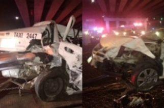 Conductor chocó contra parte trasera de taxi en Aguascalientes y pasajero agoniza