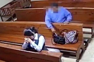 (Video) Ladrón roba en una iglesia y se persigna antes de huir