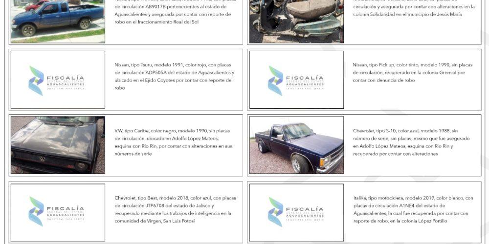 Policía Ministerial recupera vehículos con reporte de robo y alteraciones