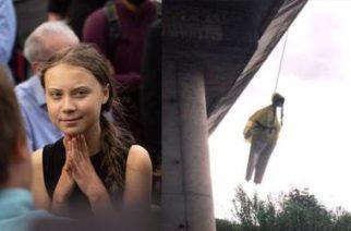 Encuentran muñeco que representa a Greta Thunberg colgando de un puente en Roma