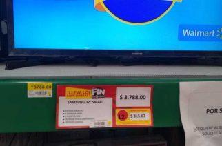 Walmart vende por error pantalla en 3.78 pesos