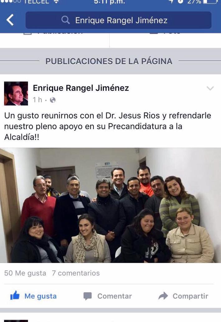 Enrique Rangel avala proyecto de Jesús Ríos Alba