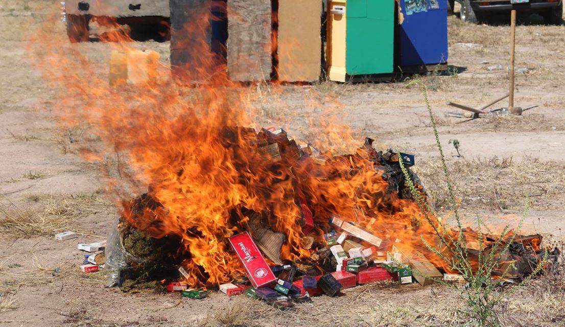PGR incinera 9 kilos de marihuana y destruye 144 máquinas tragamonedas