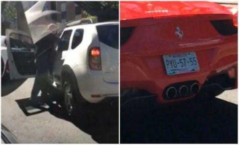 VIDEO: Guarura de narco-dueño de un Ferrari golpea a conductor