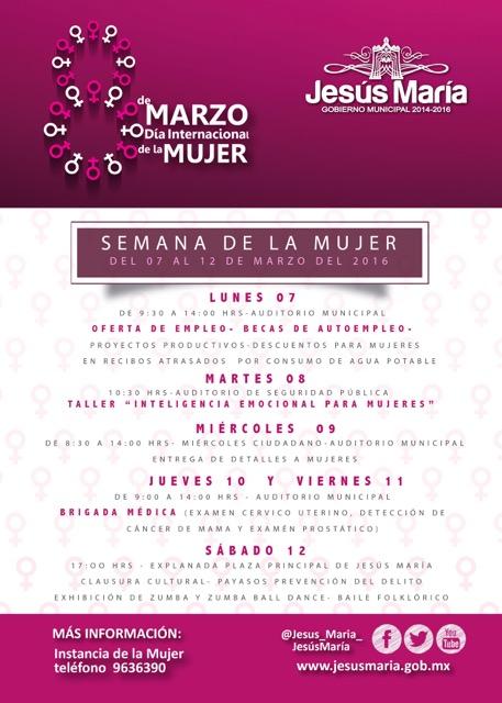 Celebrará municipio de Jesús María el Día Internacional de la Mujer con actividades toda la semana