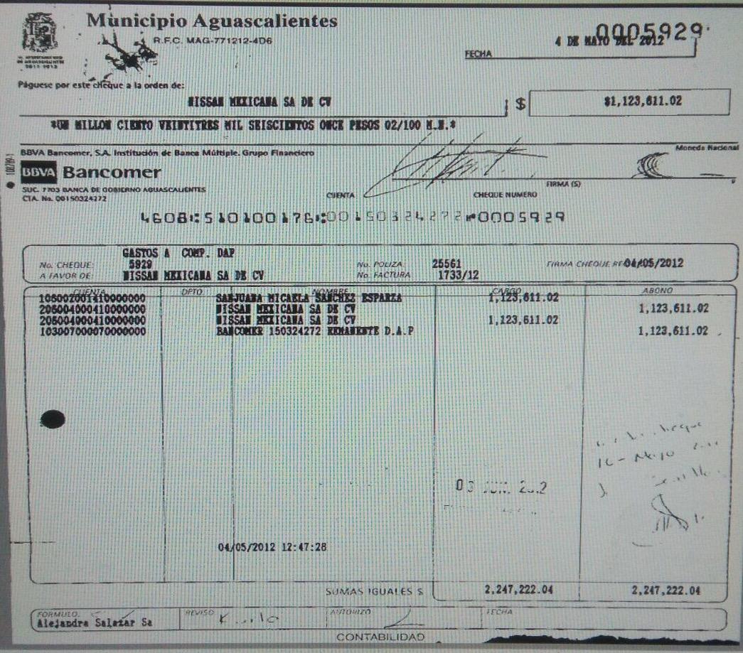 Gobierno de LMR le devolvió más de 3.3 mdp a la NISSAN por el DAP