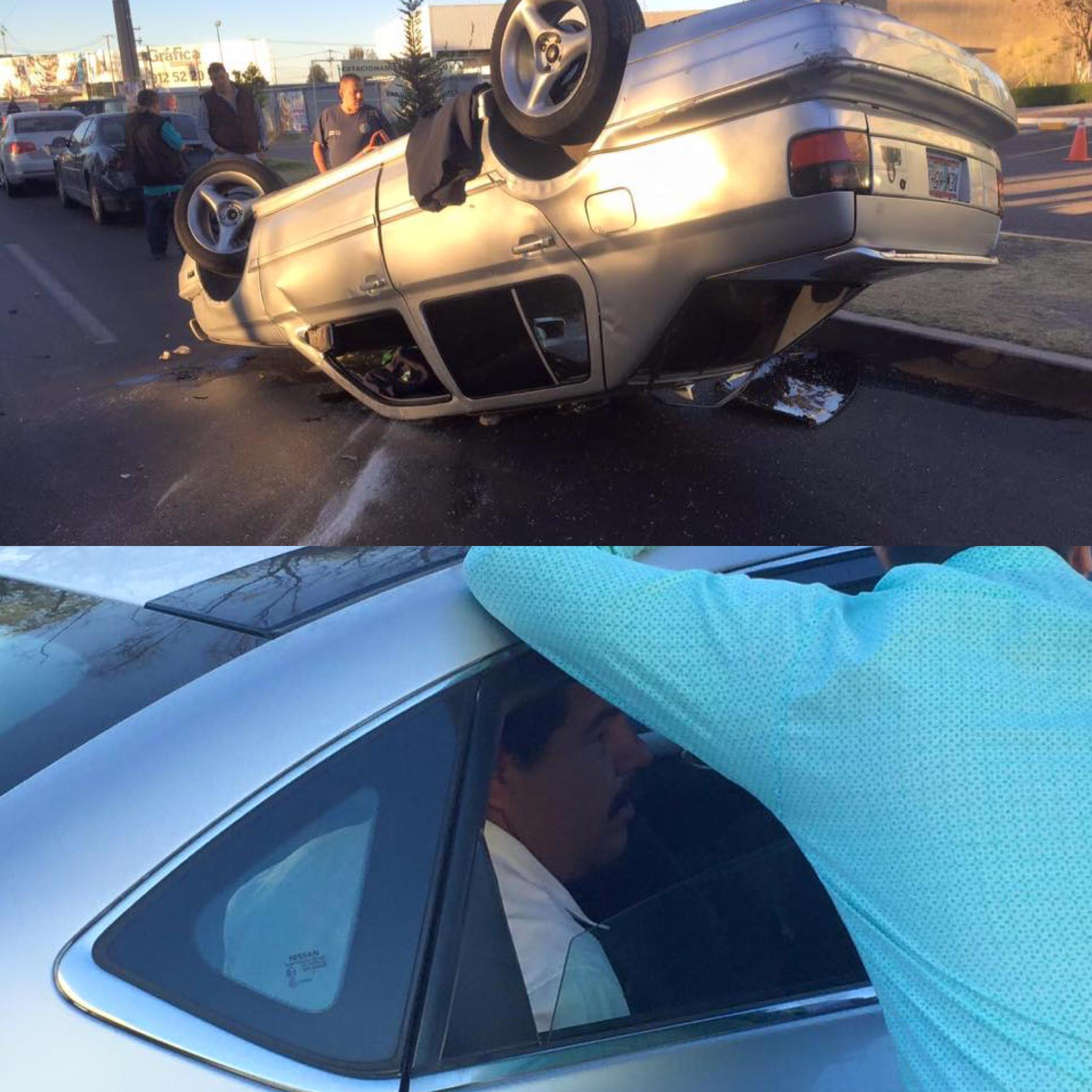 Estúpido y prepotente borracho provoca accidente y caos vehicular
