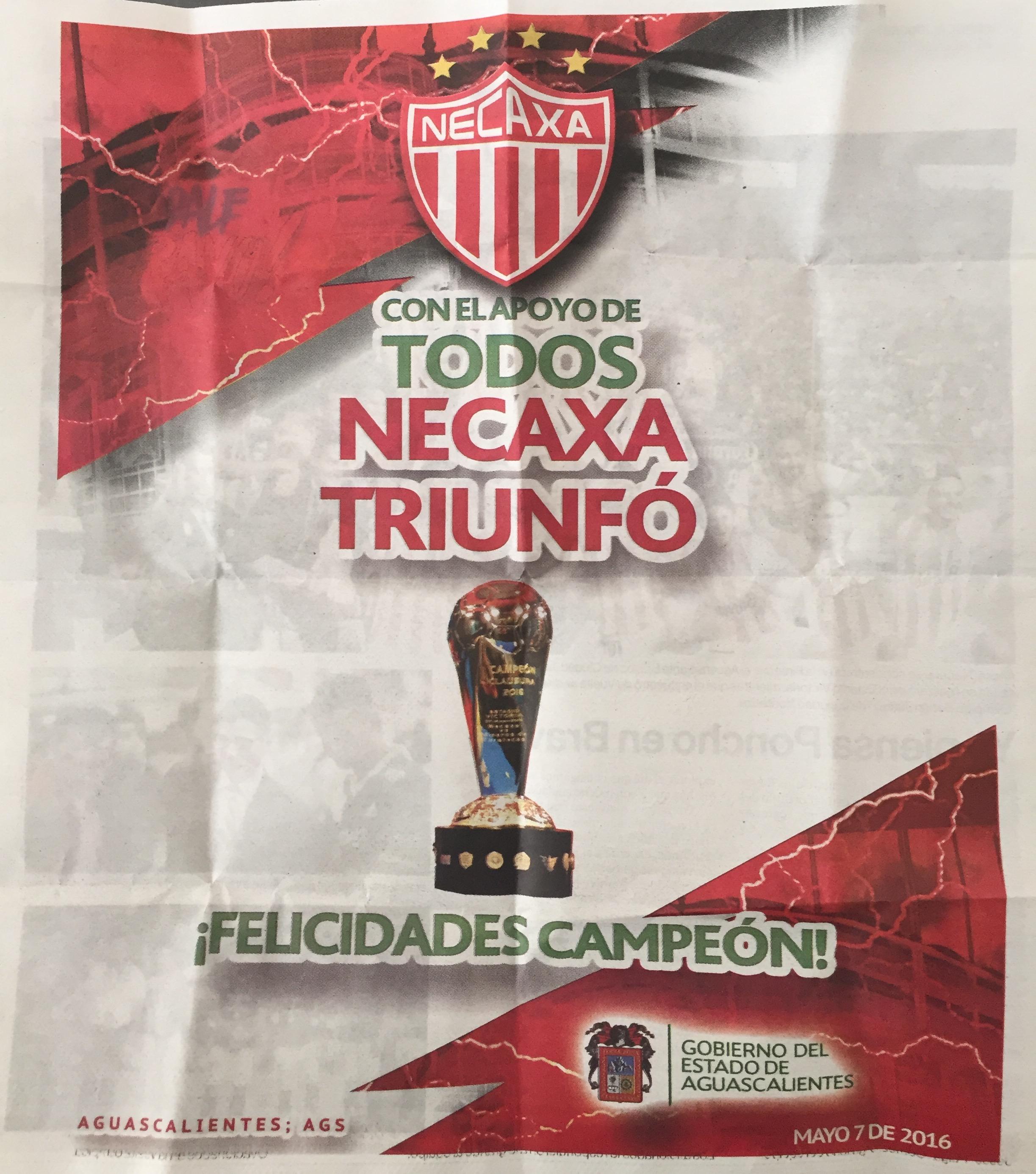 Gobierno de Aguascalientes otorga 1 campeonato más a Necaxa