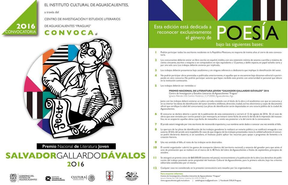 """Abierta la convocatoria del Premio Nacional de Literatura Joven """"Salvador Gallardo Dávalos"""""""