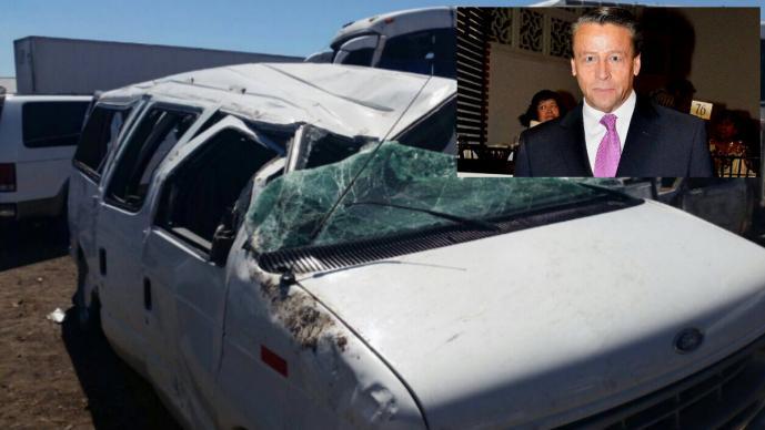 Casi se mata la familia de Alfredo Adame en accidente automovilístico