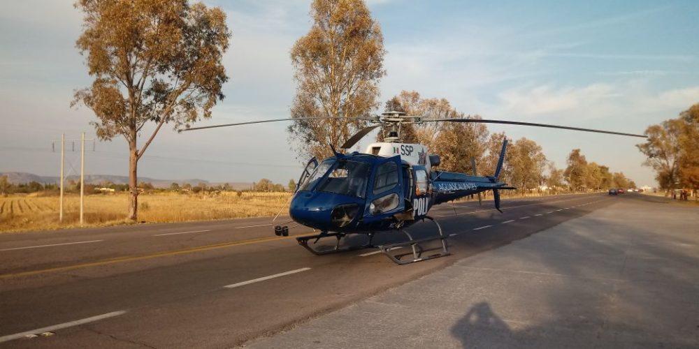 Traslada helicóptero del estado a lesionado en choque registrado en Venaderos