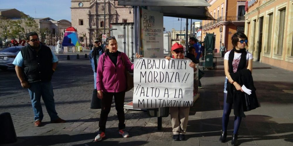 Se manifiestan en Aguascalientes contra la Ley de Seguridad Interior