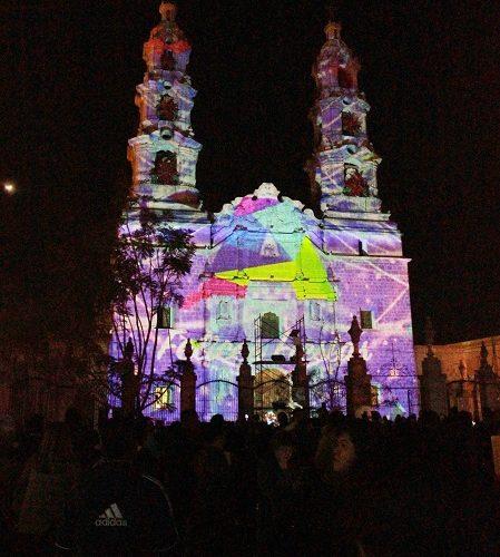 Ofrece MuniAgs mapping navideño en fachada de la Catedral Basílica