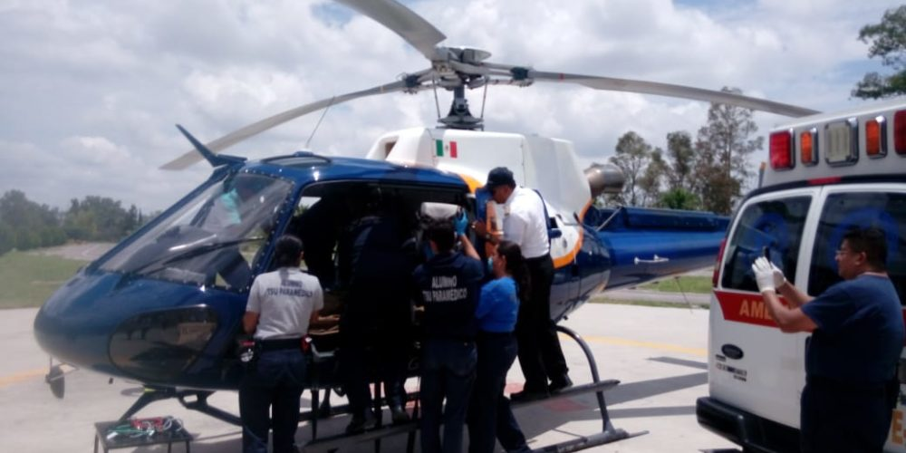 Helicóptero de la SSPE traslada a paciente quemado de Ags a Gdl