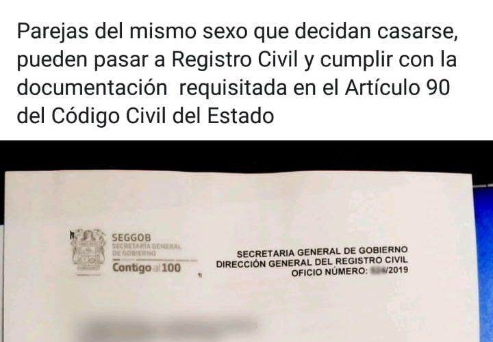 Adelantan matrimonio igualitario sin  amparos ante Registro Civil de Aguascalientes