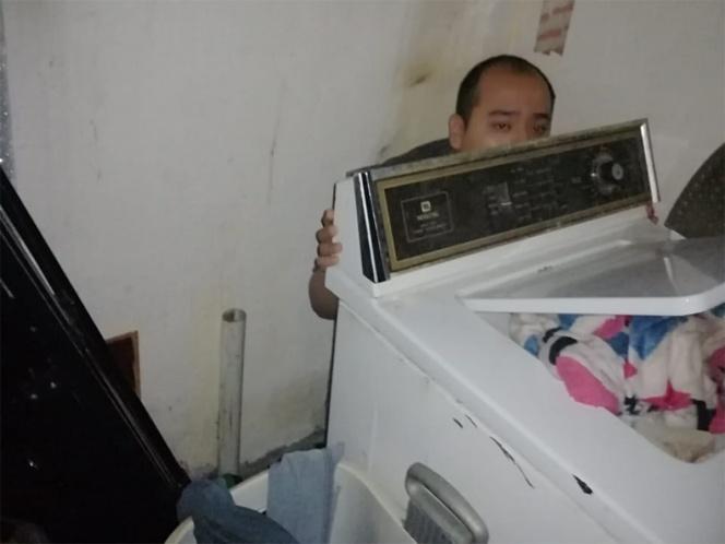 Reportan a hombre como desaparecido y aparece detrás de una lavadora