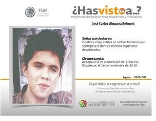 Juan Carlos desapareció en Zacatecas lo buscan en Aguascalientes