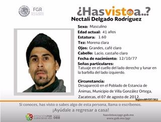 Nectalí desapareció en Zacatecas, lo buscan en Aguascalientes