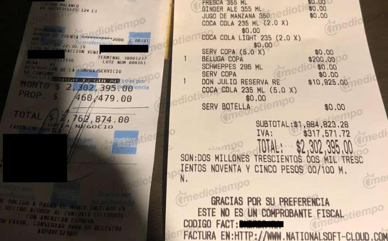 NBA firmó cuenta de 2.7 millones de pesos en restaurante de CDMX