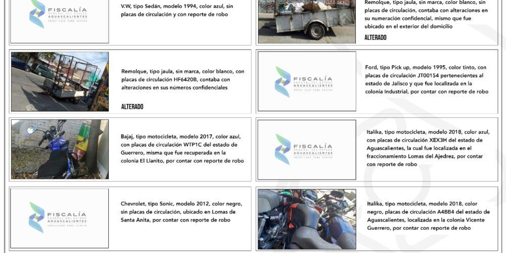 Agentes Investigadores recuperan vehículos con reporte de robo