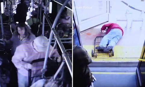 (VIDEO) Mujer empuja a un abuelito desde un camión y lo mata