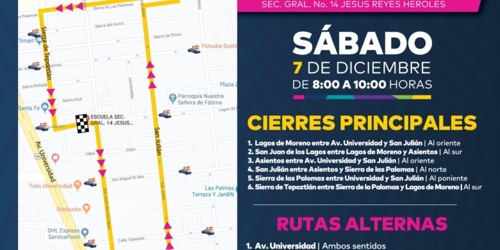Anuncian cierres viales al norte de la ciudad por carrera atlética
