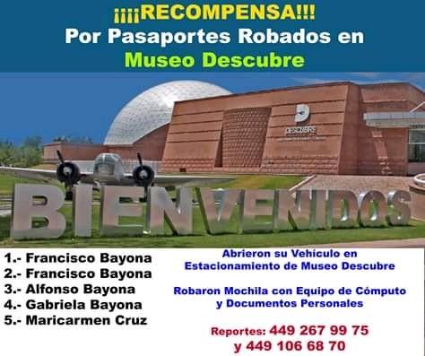 Ofrecen recompensa por pasaportes de E.U. robados en Aguascalientes