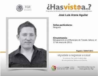 José Luis desapareció en Jalisco, lo buscan en Aguascalientes