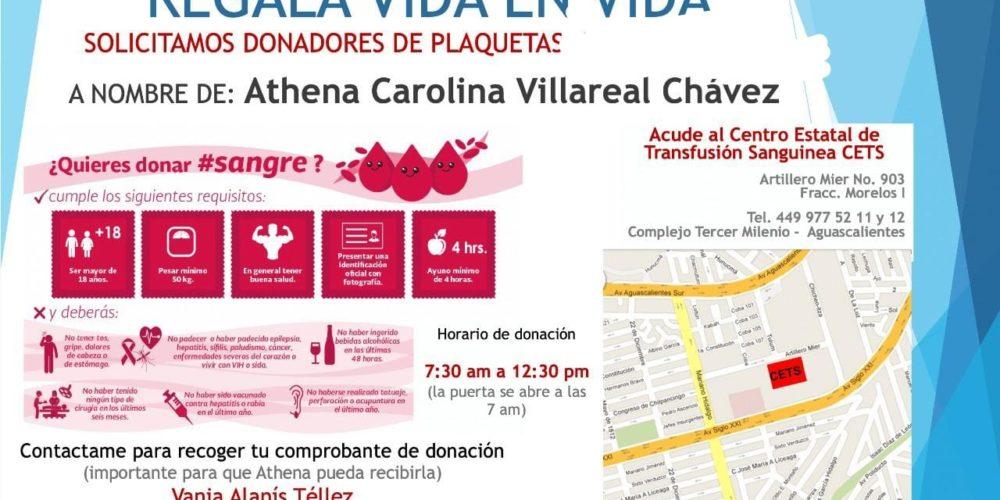 Se solicitan donadores de plaquetas para paciente en Aguascalientes