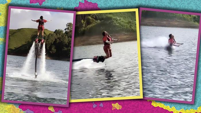 Karol G sufre tremenda caída en el agua