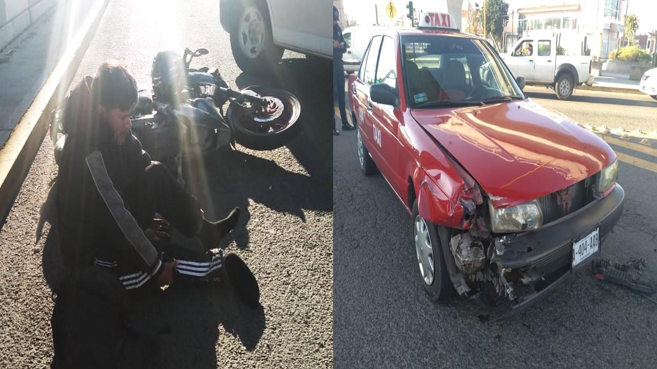 Motociclista se pasó luz roja  y fue embestido por un taxi en Aguascalientes
