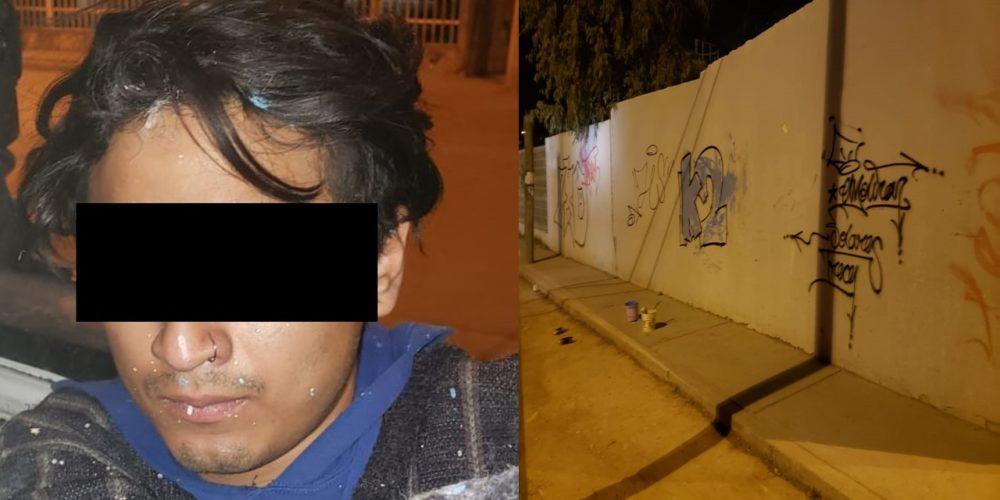 """Por grafitear bardas detienen a """"El Santi"""" en Jesús María"""