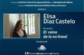 El reino de lo no lineal, de Elisa Díaz, obtuvo el Premio Bellas Artes de Poesía Aguascalientes